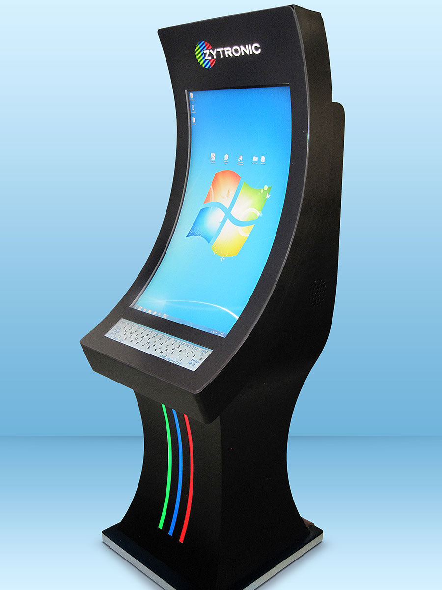 A customised curved glass touch screen manufactured by Zytronic