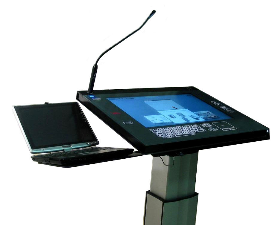 A lectern featuring a custom glass touch screen from Zytronic Displays