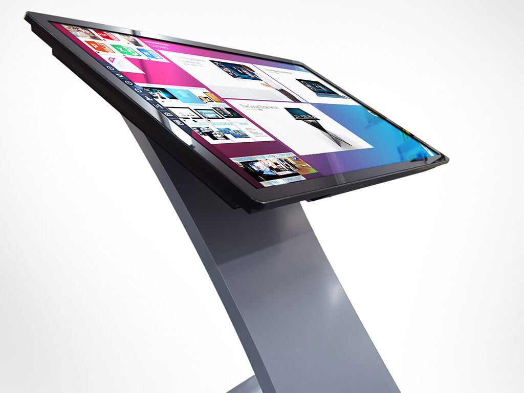 """H4214P 42"""" touch monitor mounted on a stand running Touchtech Lima"""