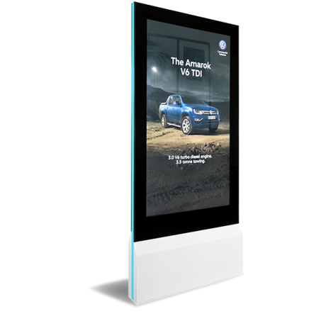The Blade ultra-slim double sided interactive kiosk uses Zytronic touch technology - web